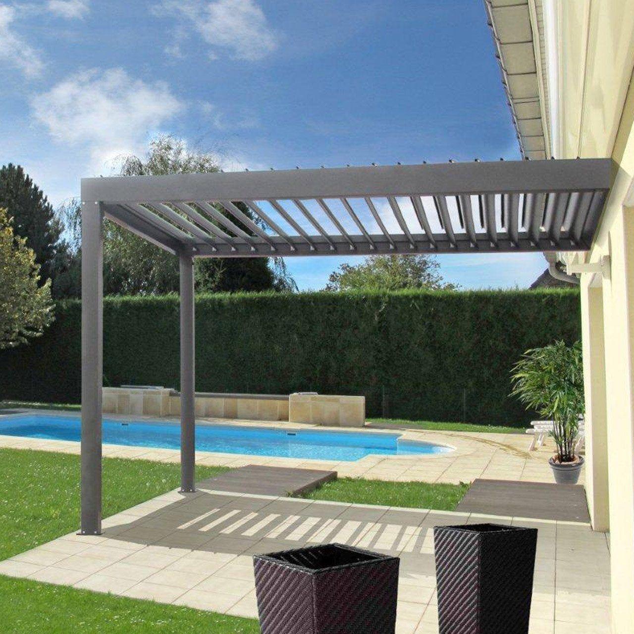 Pergola Bioclimatique Retractable Avis pergola adossée orient, aluminium gris anthracite, 9 m²