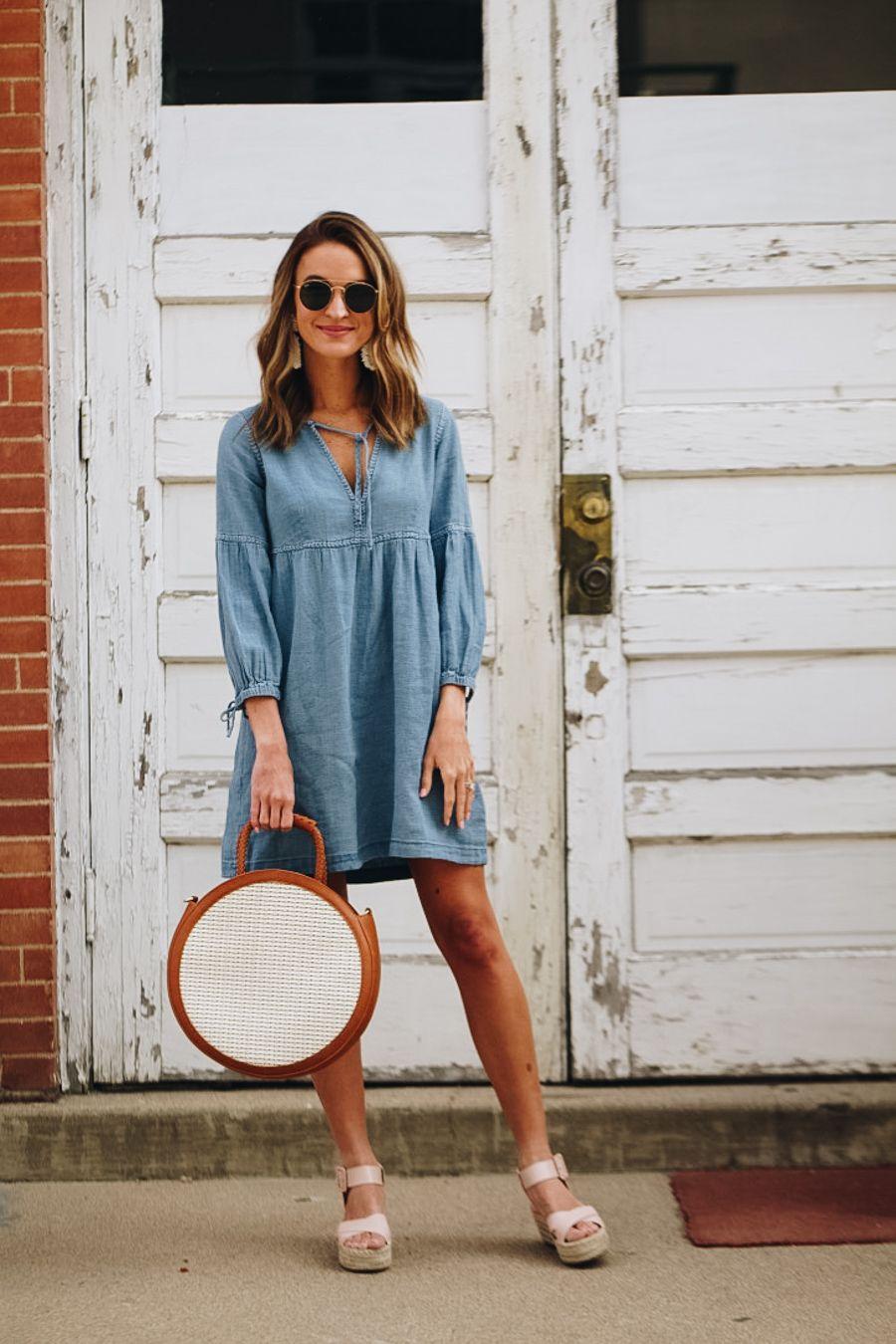 Spring Favorites April Transition Lauren Kay Sims Denim Dress Denim Dress Outfit Chambray Dress Outfit [ 1350 x 900 Pixel ]