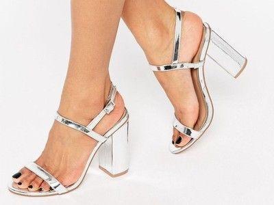 Asos Srebrne Sandaly Damskie Na Slupku 39 6817349959 Oficjalne Archiwum Allegro Sandals Heels Shoes Women Heels Silver Block Heel Sandals
