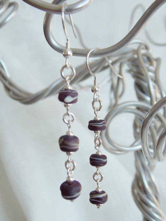 Rustic Eggplant Earrings by KreationsbyKarenNB on Etsy, $30.00