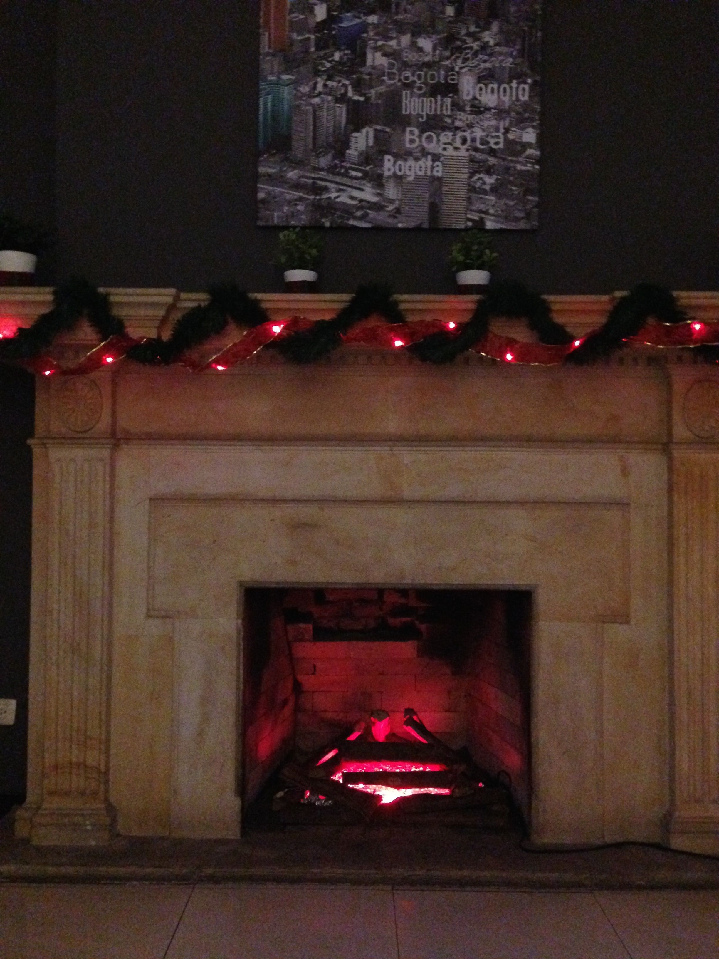 Fireplace build with christmas ligths, Aluminium foil and stick woods