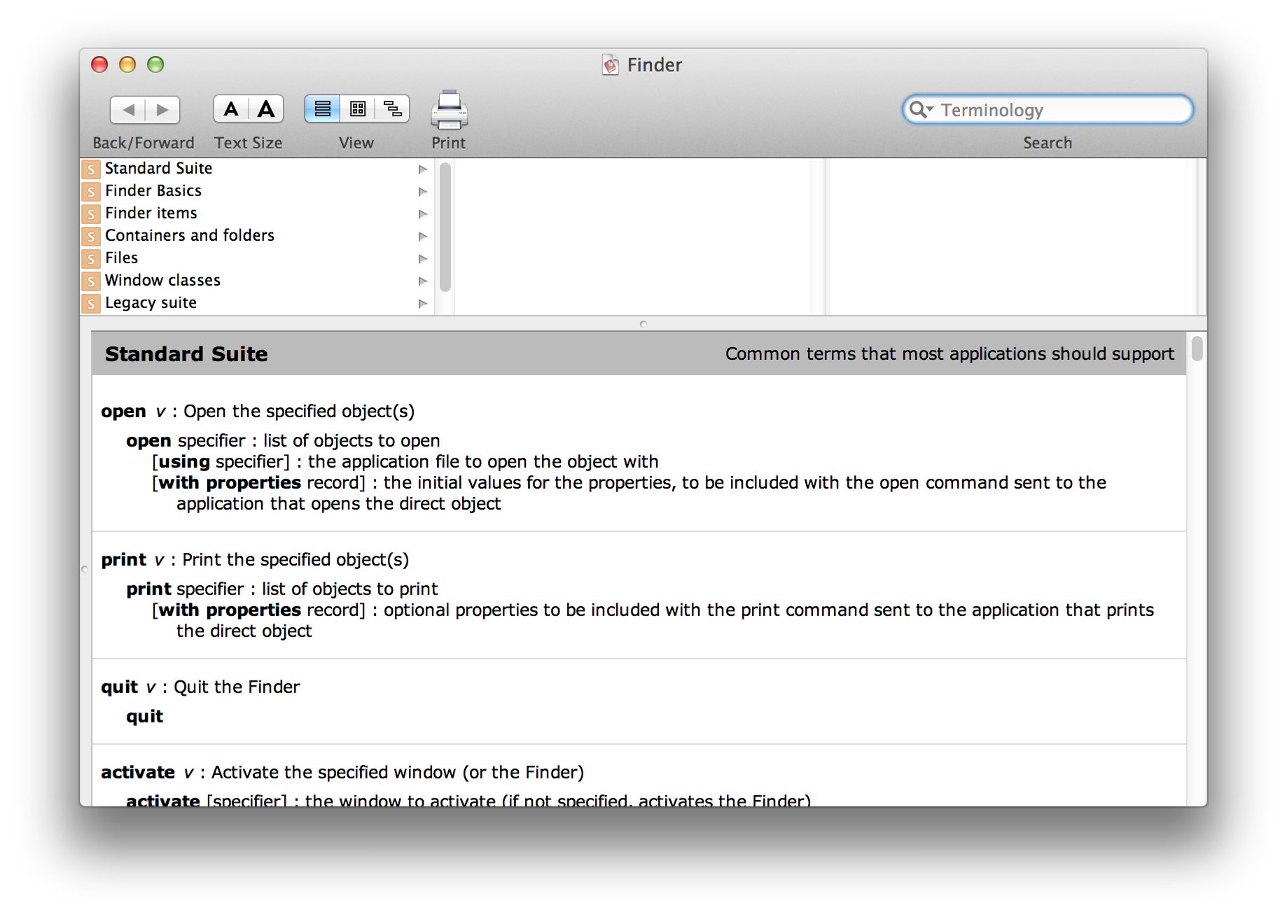 The Finder dictionary in Script Editor (in OS X v10.5