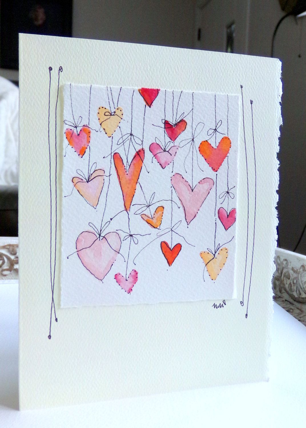 Hearts On Strings Watercolor Original Card Big Card 5x7 With