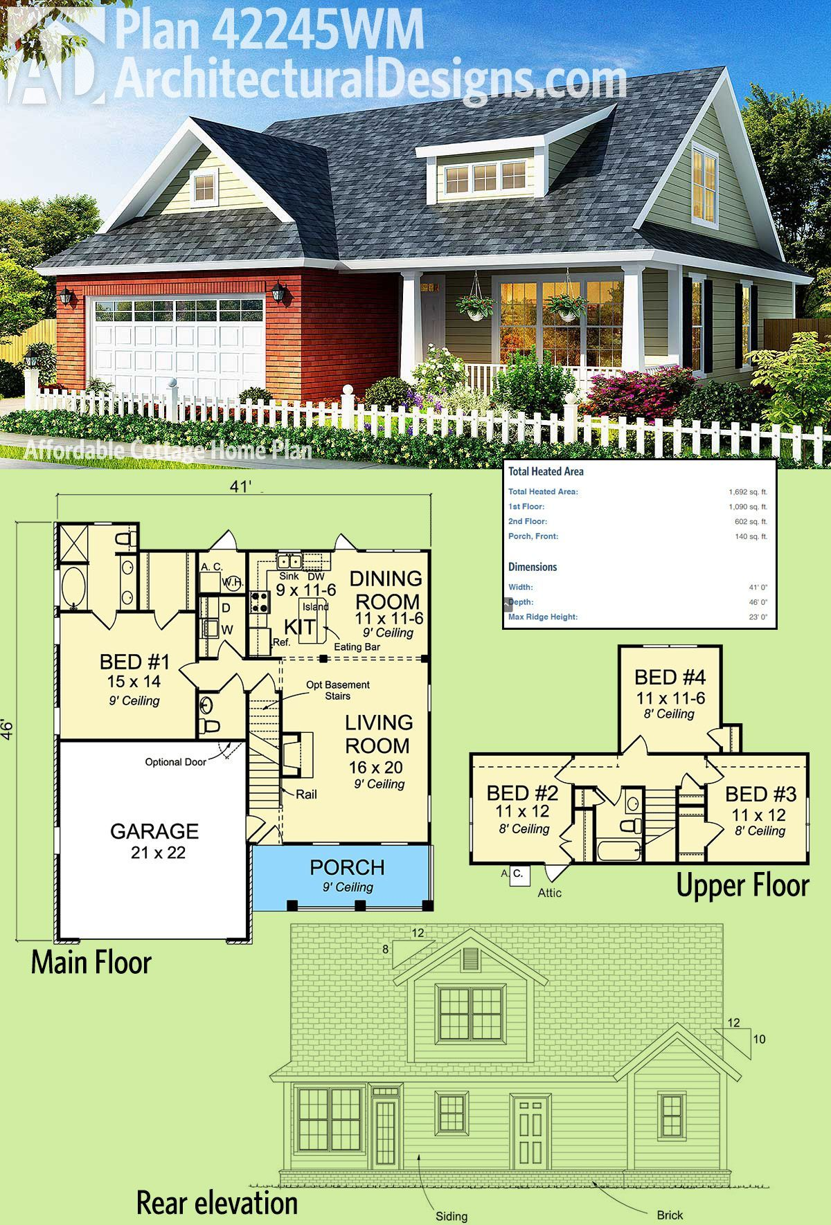 Architectural Designs 4 Bed Cottage House Plan 42245wm Gives You Over 1 600 Square Feet Of Heated Living Space On House Plans Cottage House Plans Cottage Homes