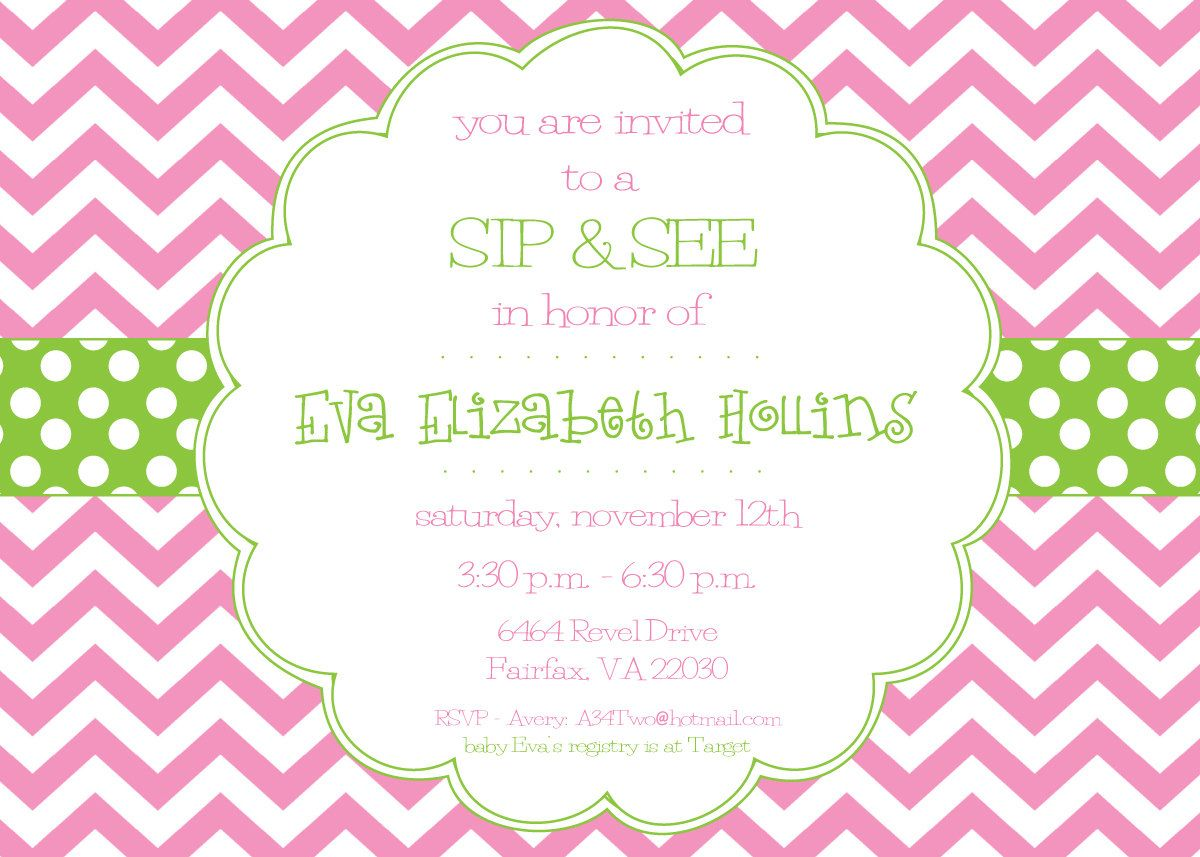 Pin by hannah robertson on invitations and etc pinterest green pink green chevron or lilac and green sip and por paperetiquette stopboris Gallery