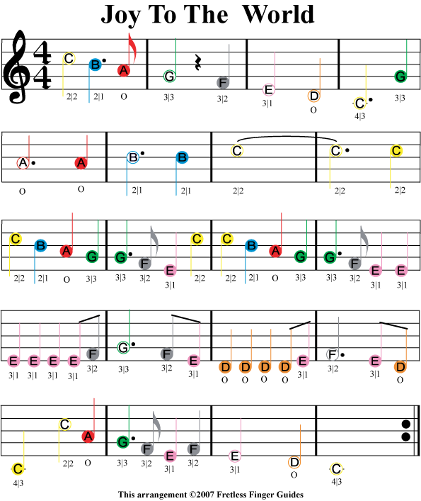 Joy To The World Easy Color Coded Violin Sheet Music Music Lessons