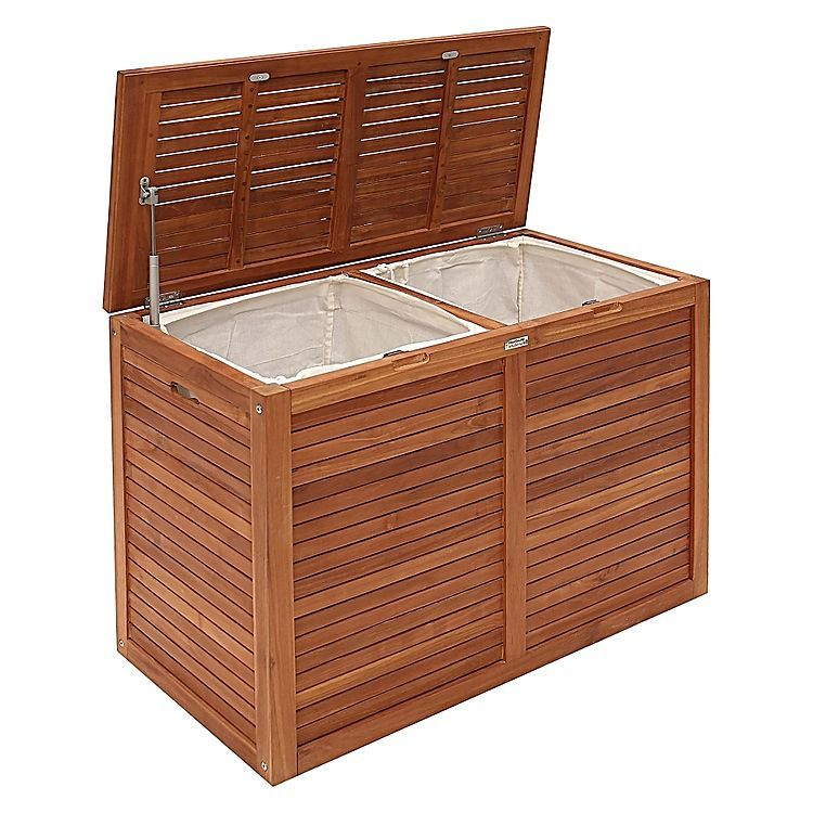 The Teak Double Laundry Hamper From Hudson Furniture Allows You To
