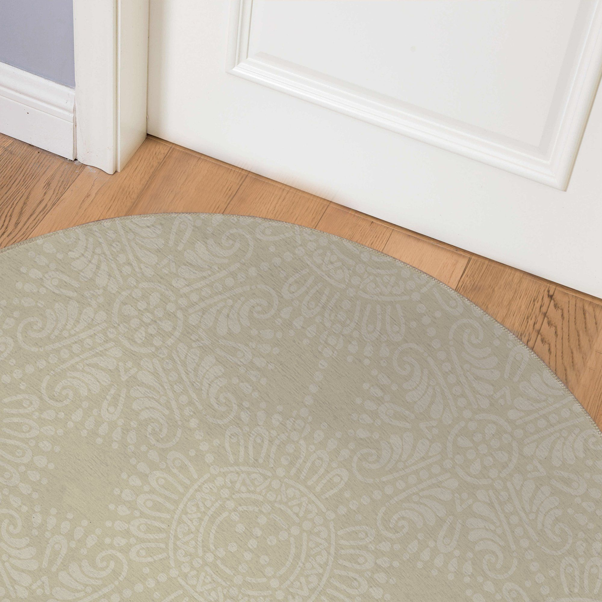 MEDALLION PATTERN NATURAL Indoor Floor Mat By Kavka Designs - Round 5ft x 5ft