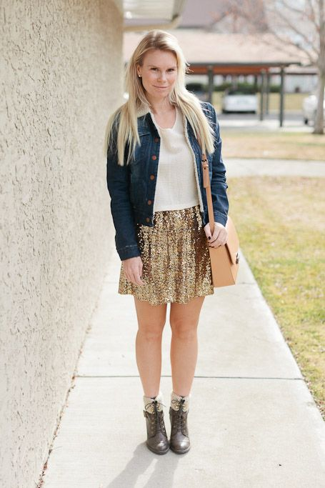Fall Outfit: denim jacket + sequin skirt + lace up boots  #falloutfit #autumnoutfit #shearlingdenimjacket #sequinskirt