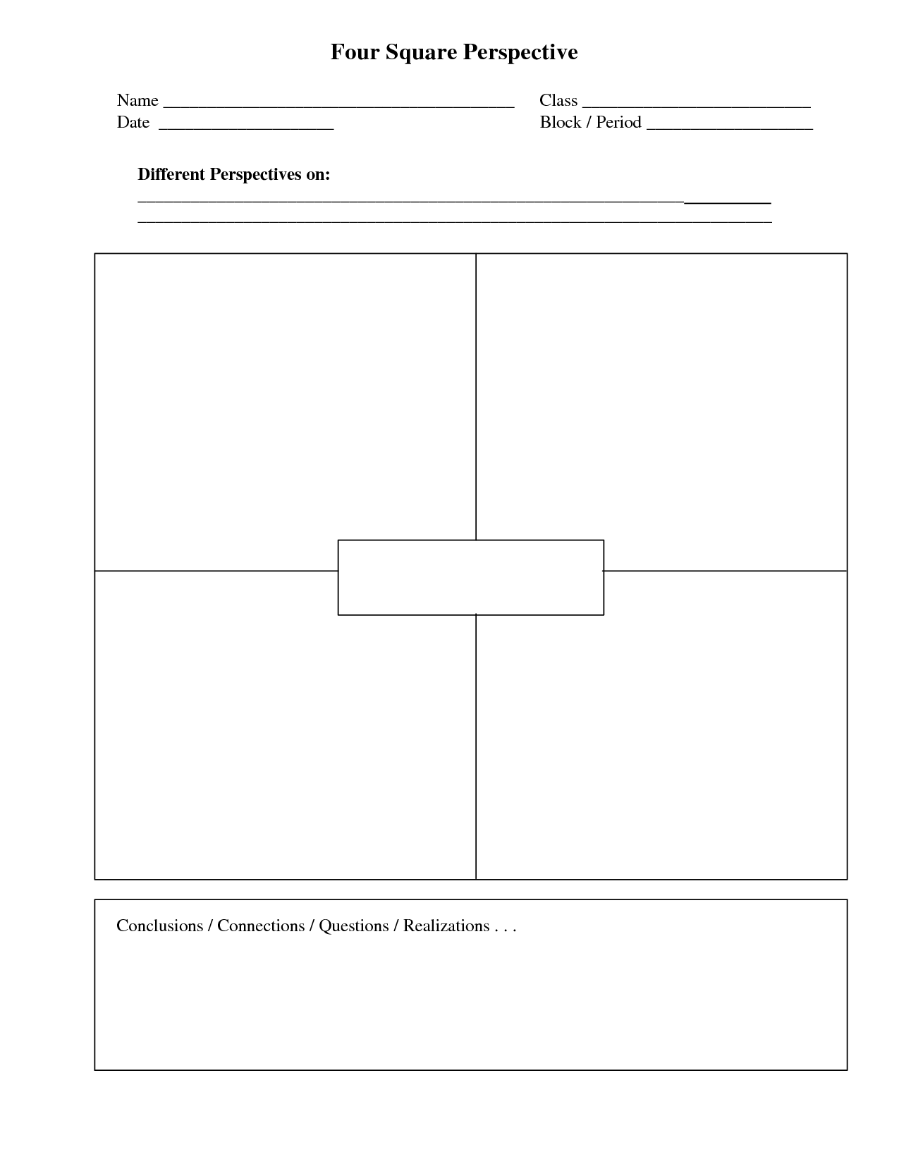 Four Square Perspective Writing Templates Four Square Writing Summer School Writing [ 1650 x 1275 Pixel ]