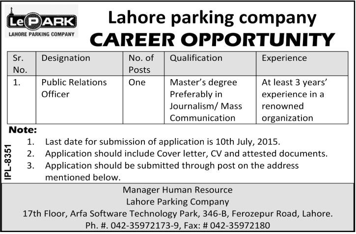 Lahore Parking Company Lahore Jobs Public Relation Officers No Of - public relations job description