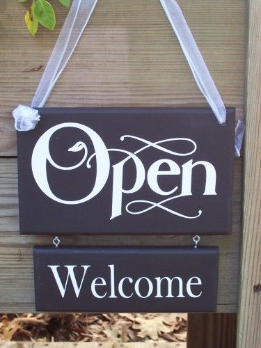 retail shop store open closed wood vinyl sign welcome please come
