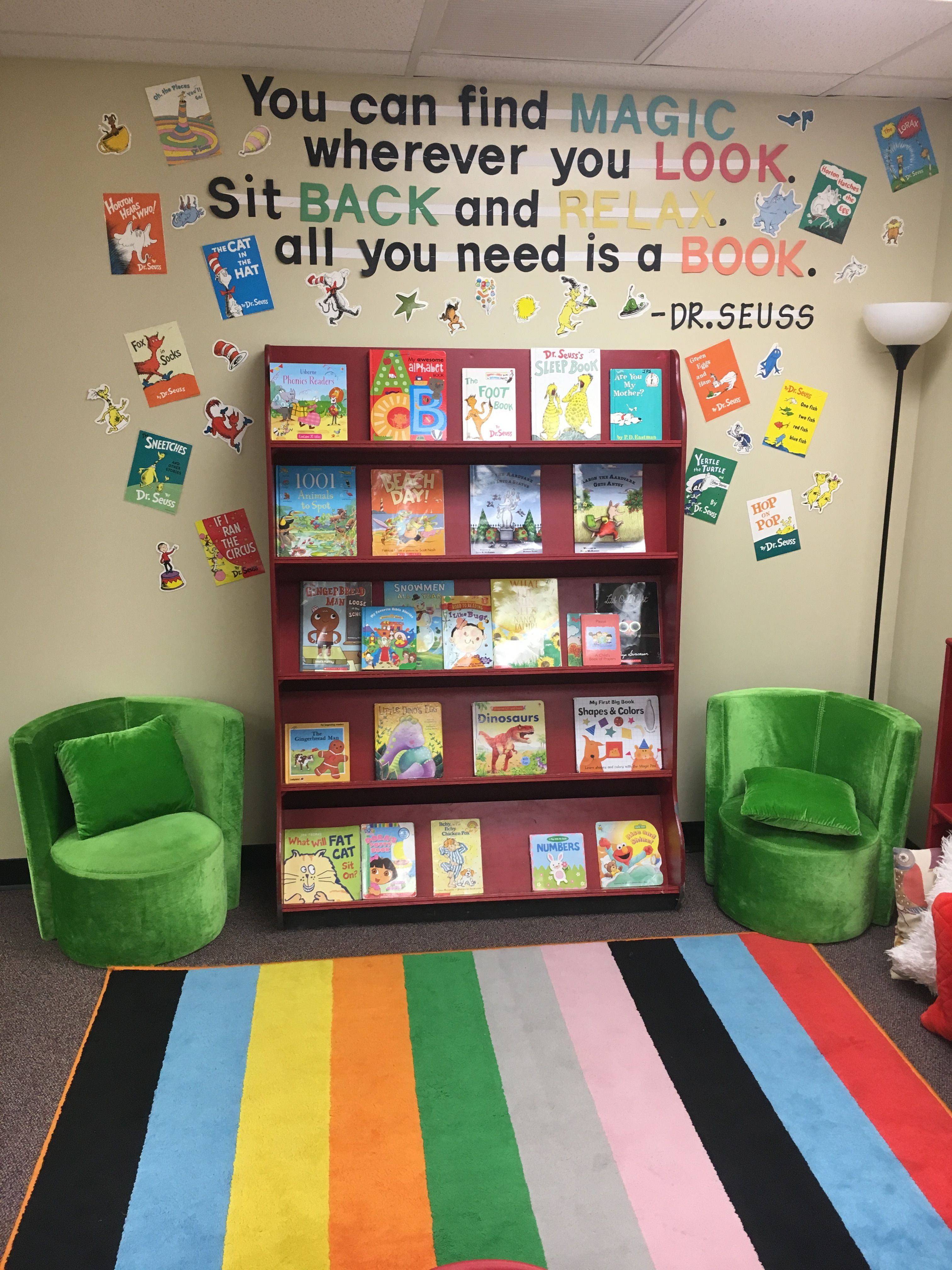 Kindergarten Class: Class Reading Corner, Dr Seuss, Book Display