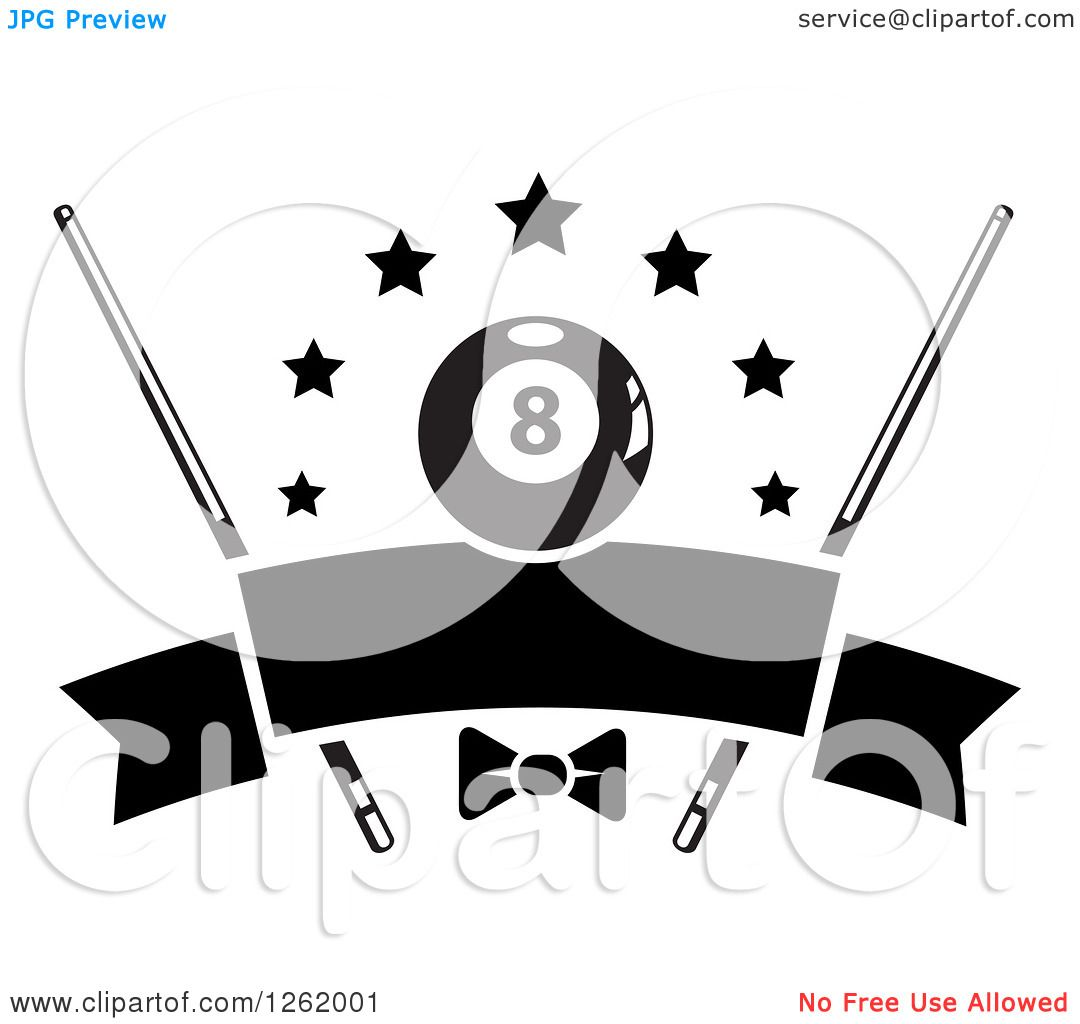 Clipart Of A Black And White Billiards Pool Eightball With Stars Cue Sticks And A Bow Over A Blank Banner Roy Free Vector Illustration Vector Free Blank Banner