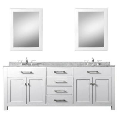 Water Creation Madison 72 In Vanity In Modern White With Marble Vanity Top In Carrara White And Matching Mirror Madison 72wc Bad Doppelwaschtisch Doppelwaschbecken Badezimmer Waschbeckenunterschrank