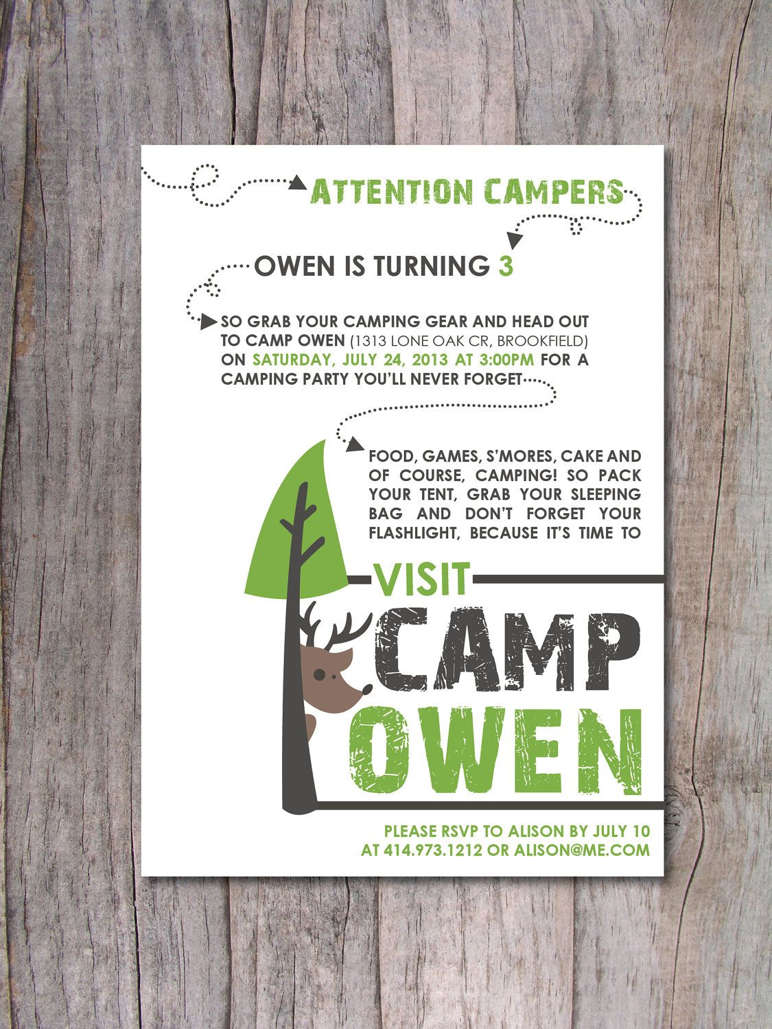 Modern Camping Birthday Party Invitation by PinchOfSpice on Etsy ...