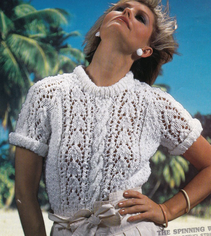 Vintage Knitting Pattern Instructions for Ladies Chunky Short Sleeve Jumper