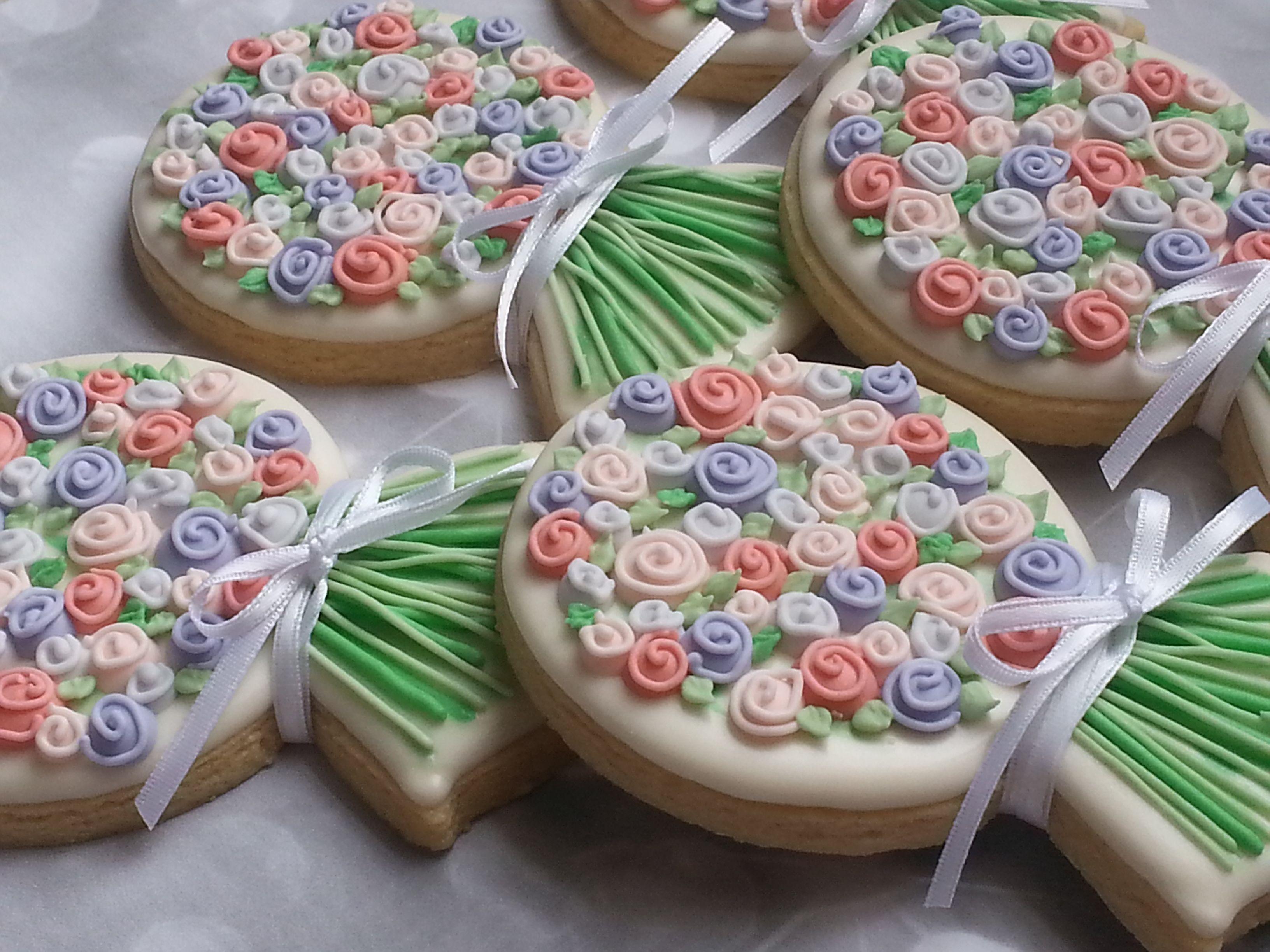 Flower Bouquet Cookies Rose Pink Flowers Purple Wedding