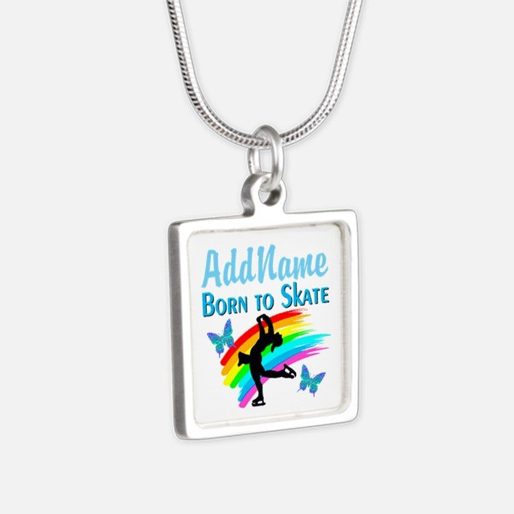 BORN TO SKATE Silver Square Necklace Calling all Skaters! Enjoy our beautiful selection of Figure Skating Jewelry  http://www.cafepress.com/sportsstar/10189550 #Figureskater #FigureSkating #Iloveskating #Borntoskate #Personalizedskater #Skaterjewelry