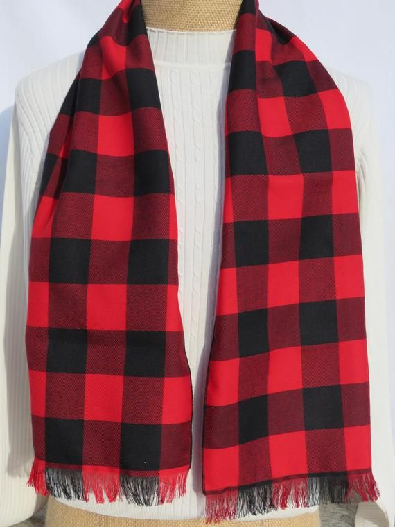 2710165ca Buffalo Check Scarf, Lumberjack Scarf, Red Plaid Scarf, Black and Red  Fashion Scarf, Co Worker Buffa