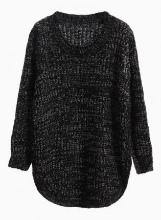 Black Curved Hem Knit Sweater #jumper #winter #comfy | Sweater ...