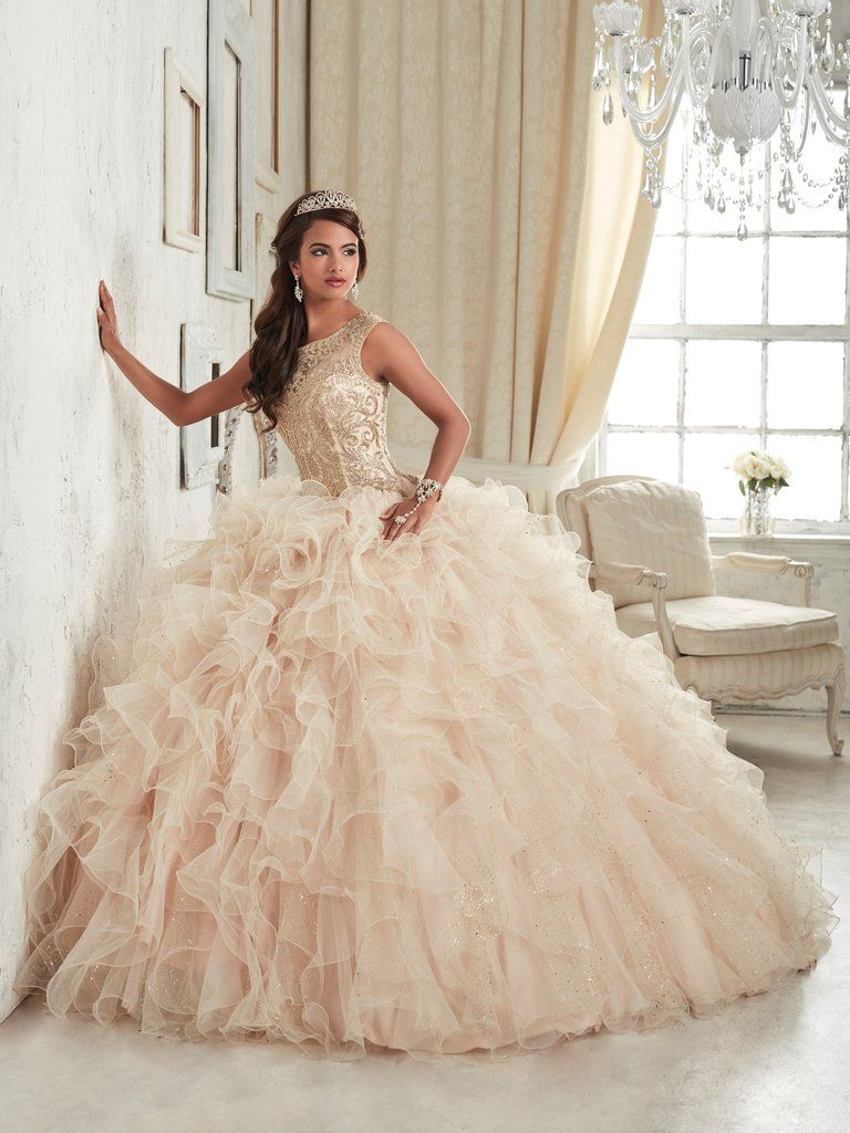 Ruffled Sleeveless Quinceanera Dress By House Of Wu 26835 Quince Dresses Champagne Quinceanera Dresses Pretty Quinceanera Dresses [ 1024 x 768 Pixel ]
