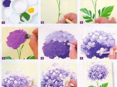 Step By Step Painting A Hydrangea Flower Flower Painting Flower Art Art Painting