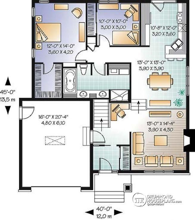 Discover The Plan 3277 Zena Which Will Please You For Its 2 Bedrooms And For Its Craftsman Northwest Styles Living Room Floor Plans Drummond House Plans House Plans