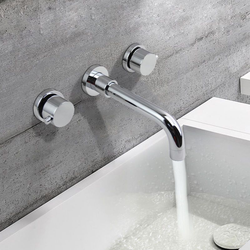 Modern Double Round Handle Wall Mounted Bathroom Sink Faucet Tap