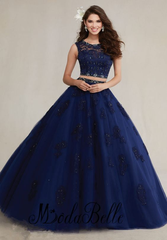 Aliexpress.com : Buy 2 Piece Quinceanera Dresses Online Navy Blue ...