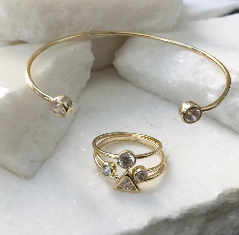 cfc8eb15b1c1 Keep your style light-weight and on trend this summer with our 14k gold  bangle bracelet cuff and 14k gold stackable midi-ring set #BlingJewelry