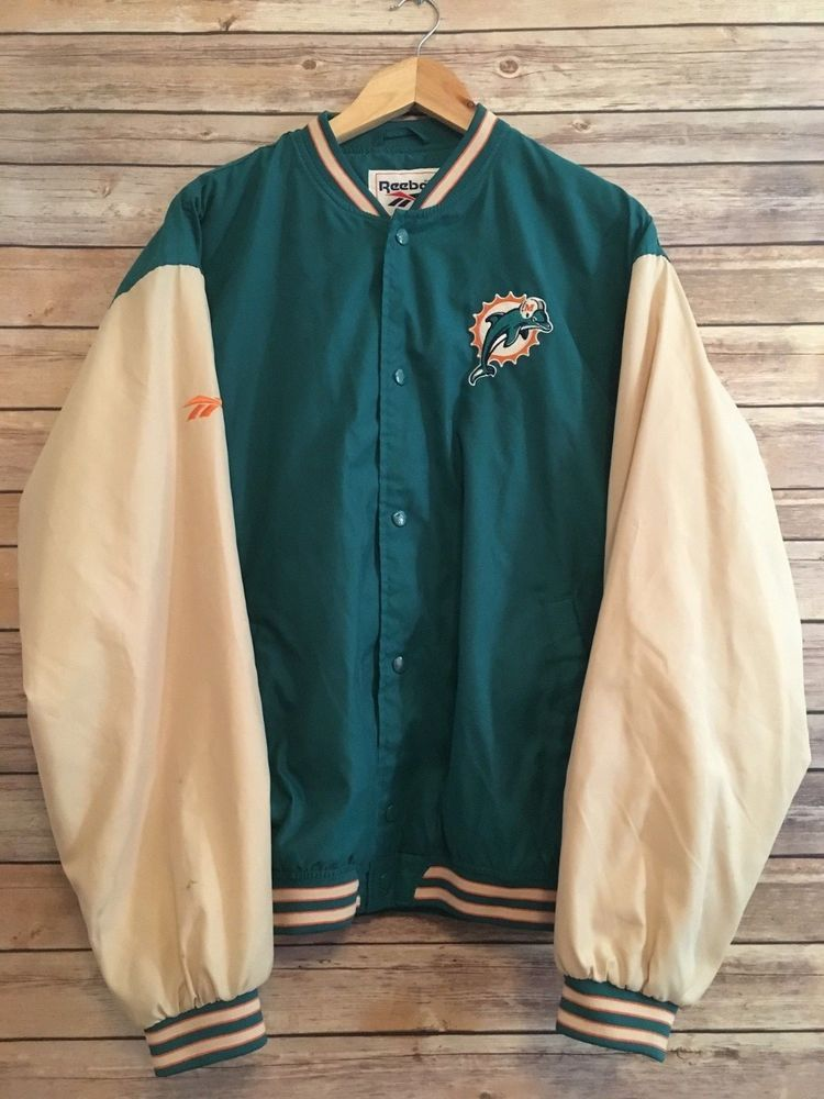 0bcee9b01db Vintage Miami Dolphins Reebok Jacket NFL Varsity Bomber Jacket Mens ...