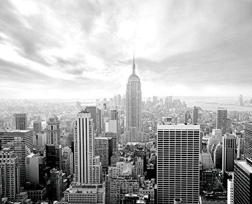 Jp London Md5002ps Peel And Stick New York City Skyline Empire Black White Removable Full Wall Mural 105feet B New York City Photos Manhattan Wallpaper Skyline