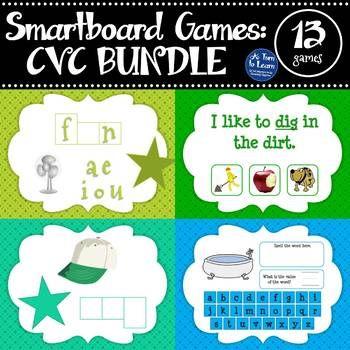 CVC Words: MEGA BUNDLE of Smartboard Games (13 activities included!)