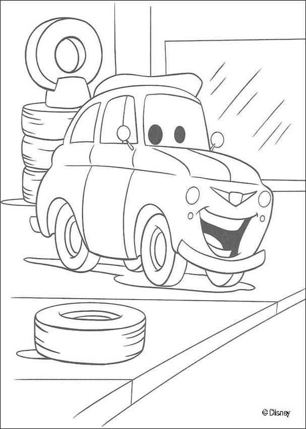 a coloring page of luigi in the garage a drawing of the famous disney movie cars