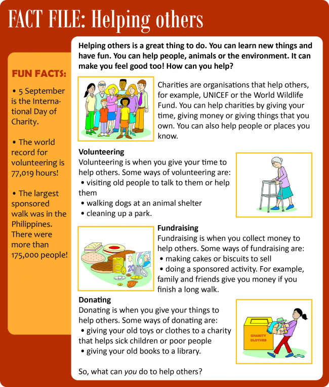 Helping others Reading practice, Helping others, New