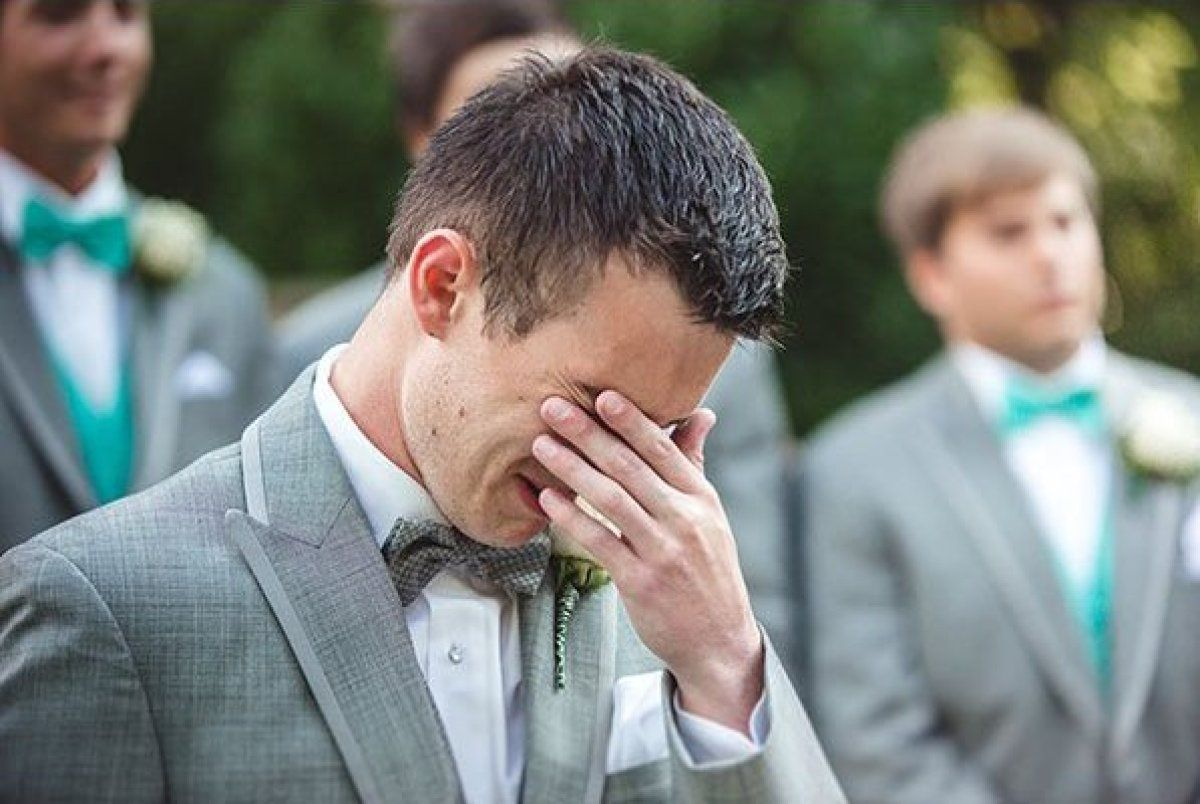 I hope that one day I get him to react this way too. Someone who can love me so Much!! I always always look at the grooms reaction at weddings it's touching seeing that person look at the love of their life walking up to them :'))