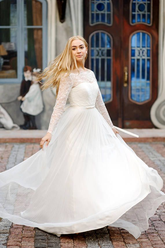 Original french lace and tulle wedding dress, bridal separates, long ...