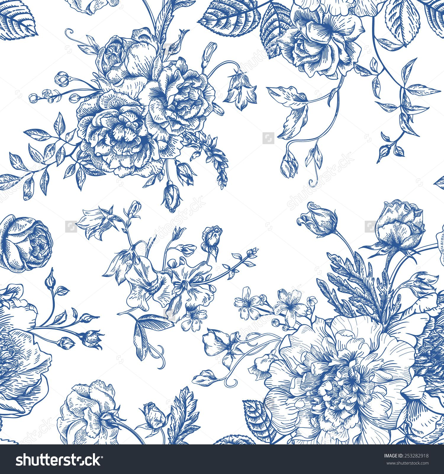 seamless vector vintage pattern with bouquet of blue
