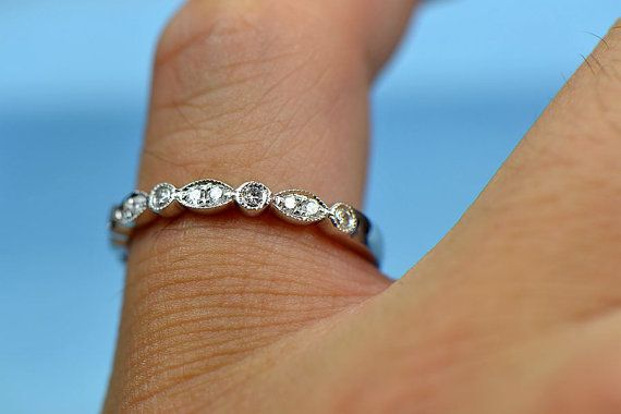 2.38mm Half Eternity Wedding Band Ring Pave by 4YOURSELF on Etsy