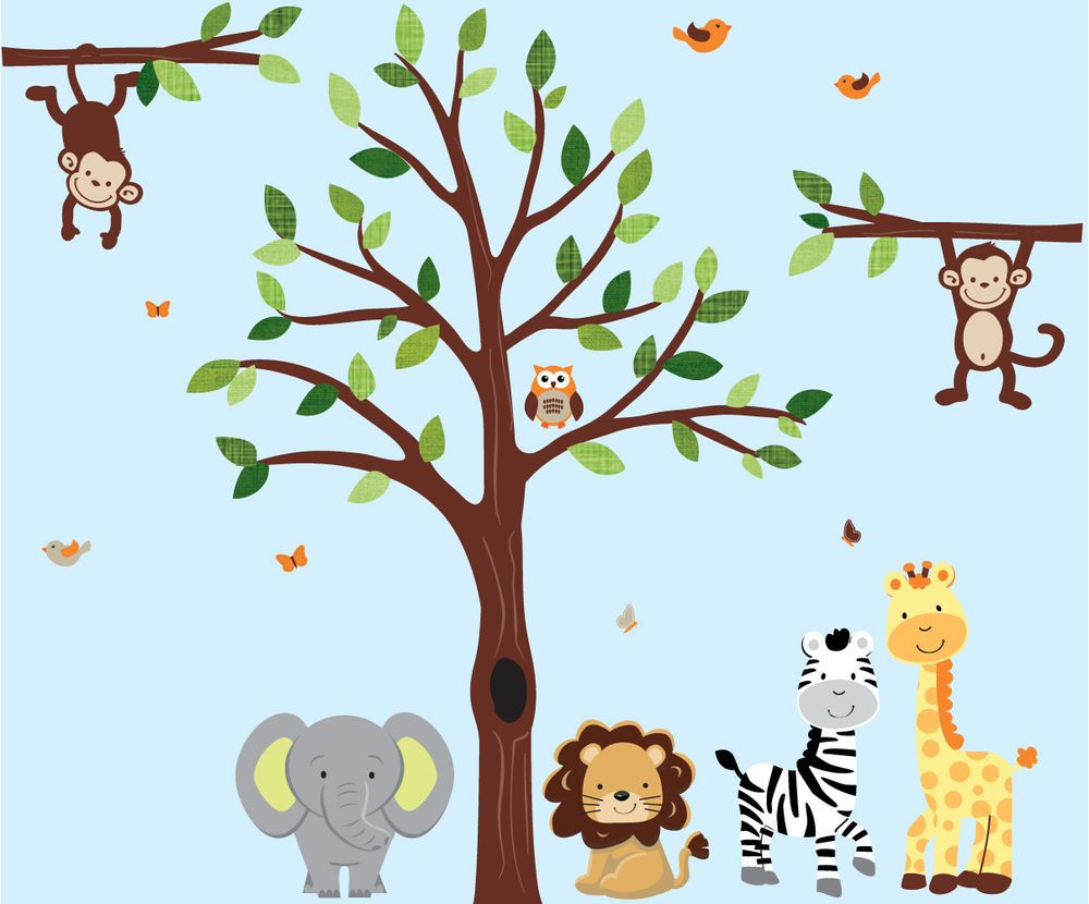Jungle Animal Wall Decal Jungle Tree Decal Animal Wall Stickers - Wall decals animalsanimal wall decal animals wall art stickers animal wall