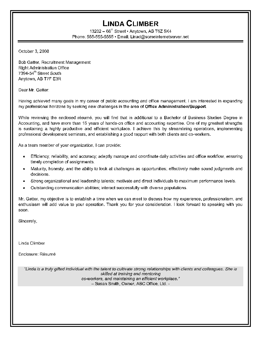 free sample of cover letter for resume