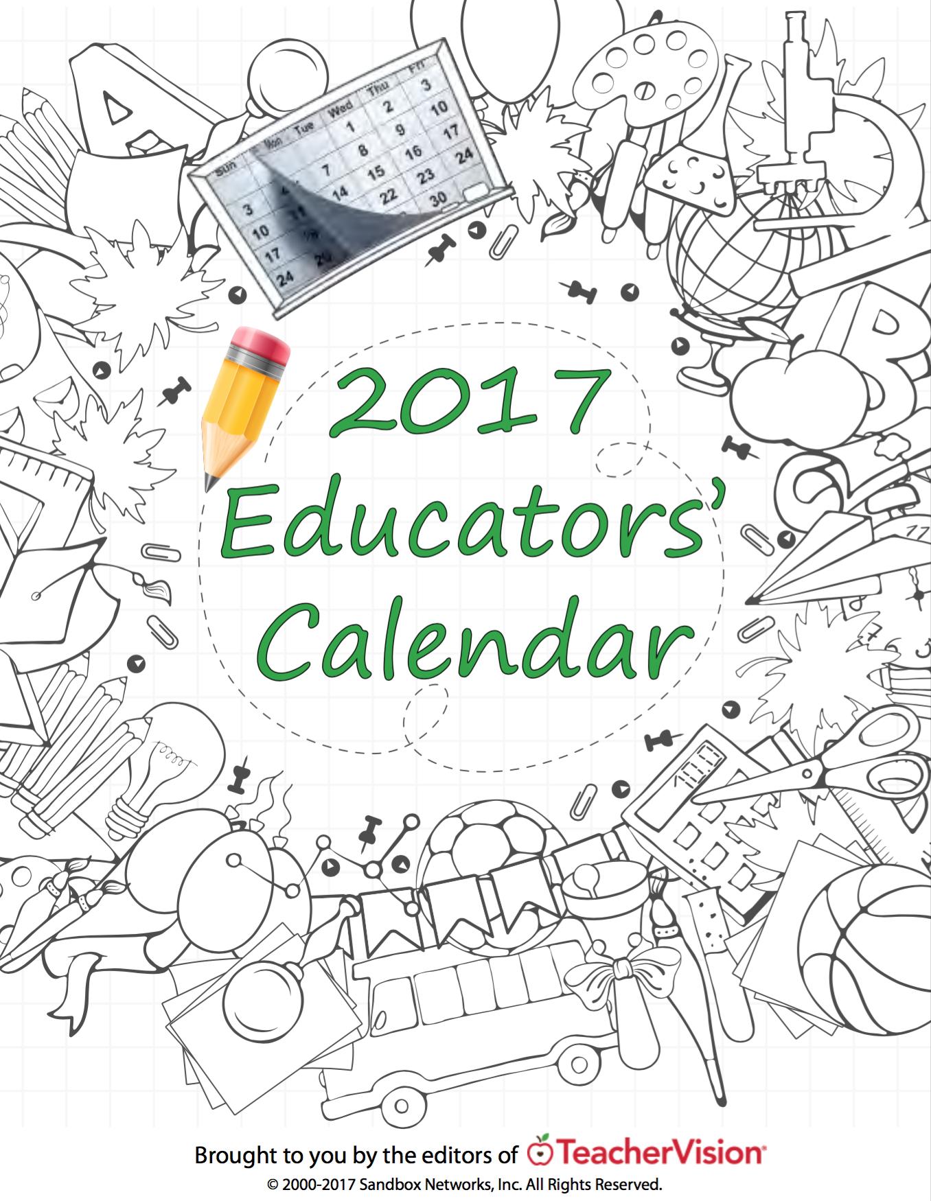 Printable Educators Calendar
