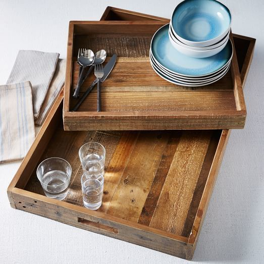 Reclaimed Wood Trays - Home Decor - Living Room - Kitchen - Entertaining - West Elm (affiliate link)