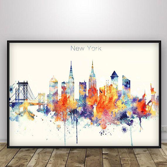 New York Skyline, New York Poster, NYC, New York print, Home Decor ...