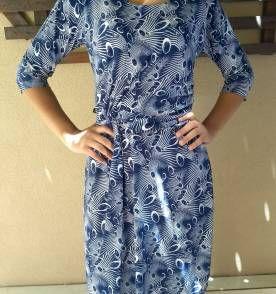 94ce80d8d vestido estampado azul e branco midi   Brechó Q Bela   Dresses with ...