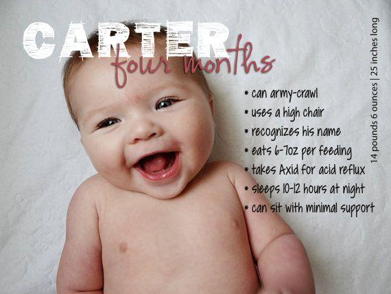 Monthly Milestones: 4-Month-Old Custom Baby Stats Print ...