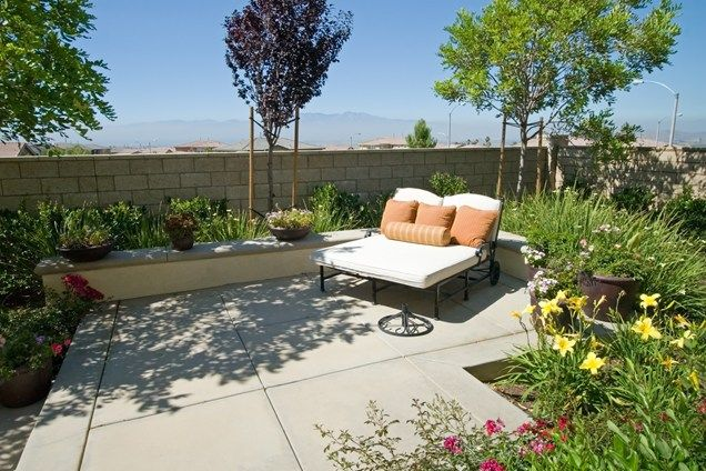 Garden Ideas Concrete Yard small concrete patio, double chaise lounge small yard landscaping