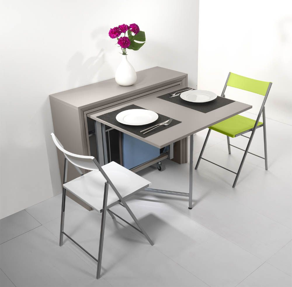 Table pliante archi grey table pliante archi grey sur for Buffet avec table escamotable