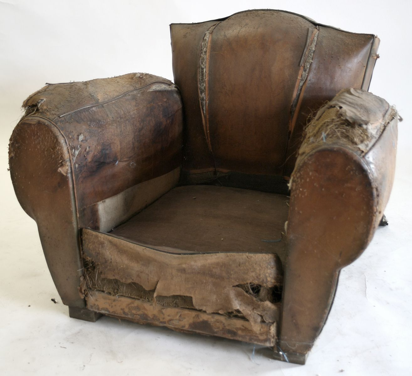 French Art Deco Club Chair Ready To Be Used For Display Or To Be Restored  At Style French Antiques In Los Angeles